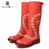 Prova Perfetto Square Toe Low Heel Casual Martin Boots Women Knee High Boots Mixed Color Braid