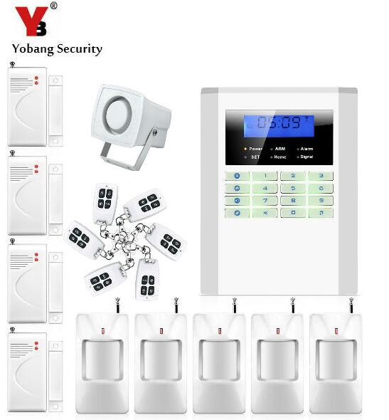 Yobang Security Wireless/Wired GSM/PSTN Home Security Alarm Working with Wireless Door Sensor PIR Detector