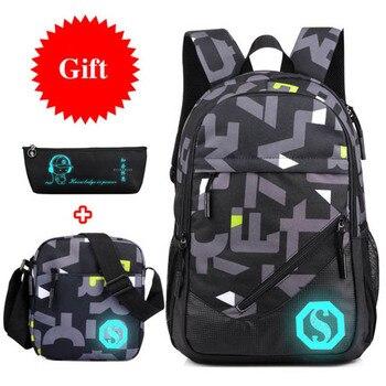 Hot Oxford Backpack 3 Pcs/set Boys High School Backpacks Schoolbag For Teenagers Boy Student Book Bag Girls Satchel Bags - discount item  40% OFF School Bags