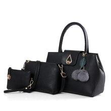 3 Unids/set Vintage Bolsos Mujeres Messenger Bags Mujer Bolso Bolsas de Hombro Sólido Oficina de Señora Casual 2017 Nueva Top-Bolso de la manija