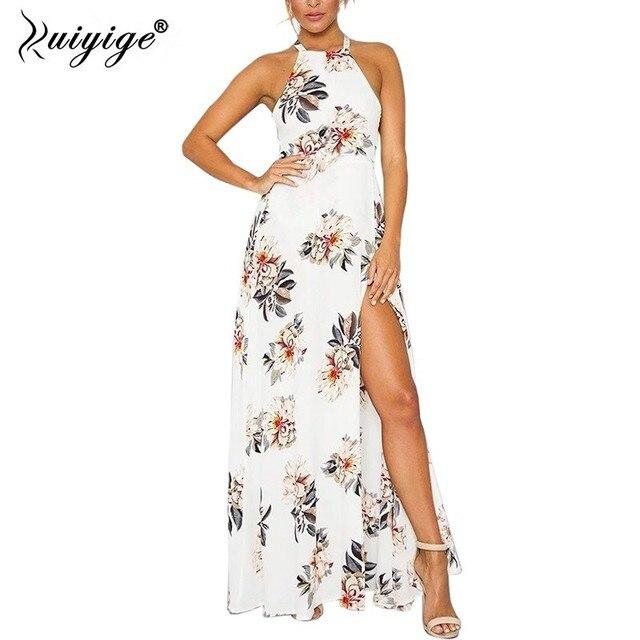 Ruiyige 2018 Women Summer Beach Dress Floral Backless Halter High Split Hollow Out Tie Waist Cutout Maxi Dress festival vestido