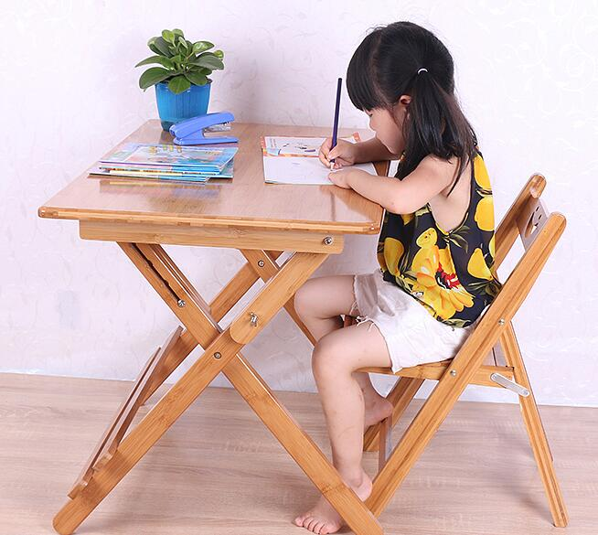 купить 80*50*(57-76)CM Children Study Table Folding Bamboo Writing Desk Student Learning Table with chair по цене 18908.06 рублей