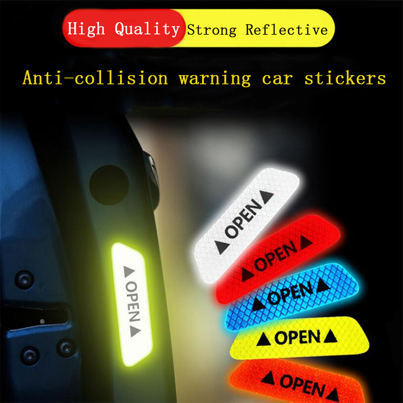 4pcs Car Door Safety Anti-collision Warning Reflective Stickers OPEN Stickers Long-distance Reflective Paper Decorative Stickers