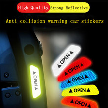 4 stks Auto deur veiligheid anti-collision waarschuwing reflecterende stickers OPEN stickers lange afstand reflecterende papier decoratieve stickers(China)