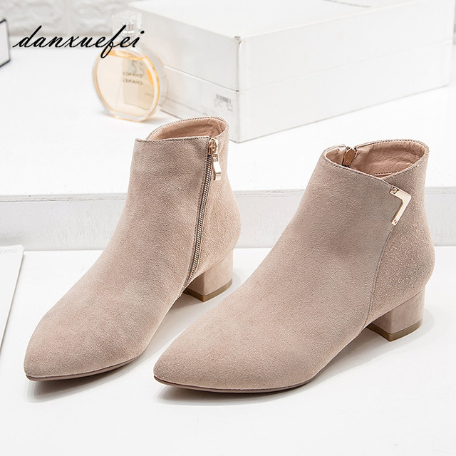 a5a651da9 Women's Genuine Suede Leather Low Heel Comfortable Autumn Ankle Boots Brand  Designer Pointed Toe Short Booties Shoes for Women