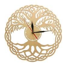 Horloge murale moderne, géométrie sacrée, fait à la main, chef-d 'œuvre rustique en bois, arbre de vie, décoration de maison, Zen