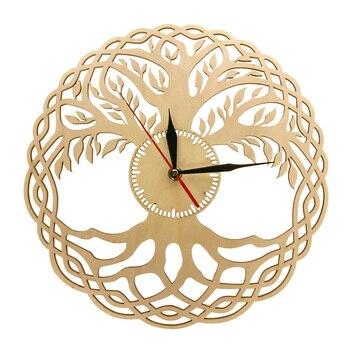 Reloj de pared moderno, Geometría Sagrada, obra maestra hecha a mano, árbol de la vida rústico, reloj de pared, árbol infinito, decoración del hogar Zen