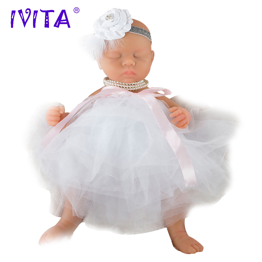 IVITA WG1507 46cm 3.2kg Girl Eyes Closed High Quality Body Full silikon Reborn Dolls Baby Alive juguetes boneca With Clothes