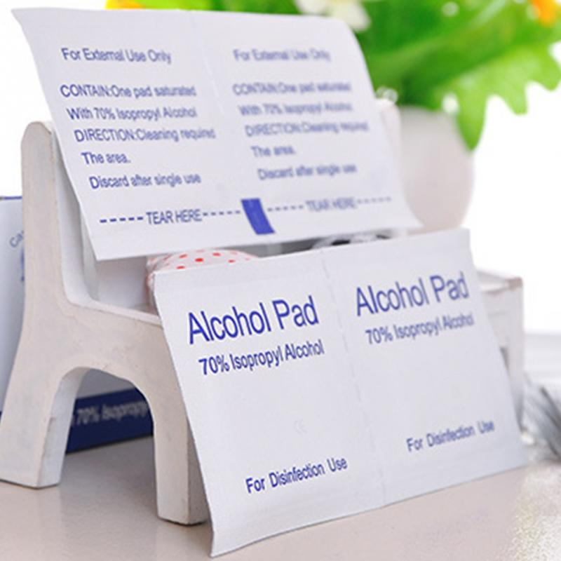 100pcs Portable Disposable Alcohol Pads Alcohol Wipes Sterilization Nail cleaning First Aid Antiseptic Cleanser Cleaning Sterili