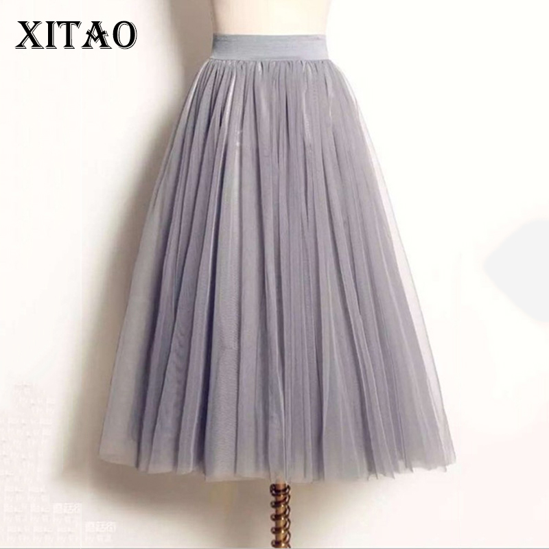 [XITAO] Korea 2017 Summer New Arrival Fashion Casual Women Solid Color Ball Gown Skirt Female Mid-Calf Loose Skirt CXB085