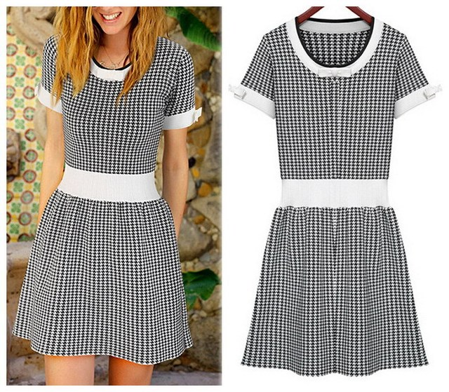 Women Vintage houndstooth White Black Plaid Casual Dress Knitwear ...
