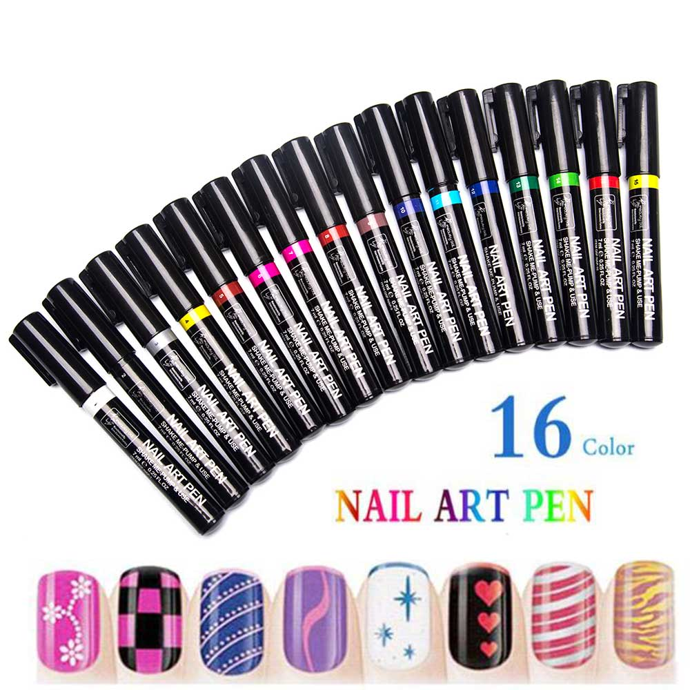 Nail Art Pens: TOMTOSH 16 Color Nail Art Pen 3D Nail Art DIY Decorative