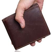 Oil Wax Genuine Leather Mens Wallet Small Brand Vintage Simple Money Bag Coin Purse Slim Cow