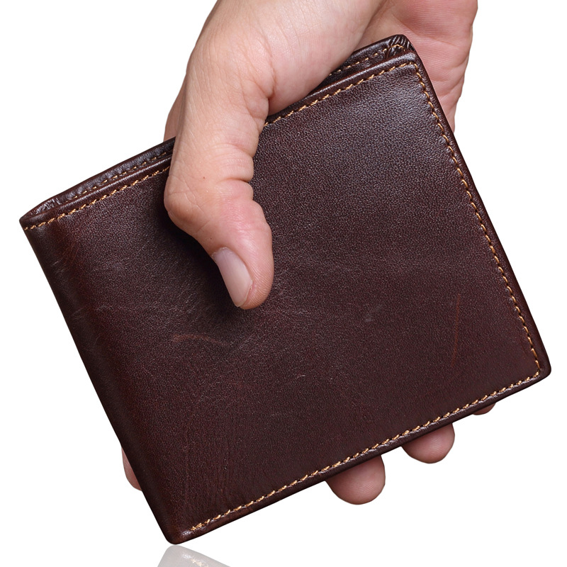 Oil Wax Genuine Leather Mens Wallet Small Brand Vintage Simple Money Bag Coin Purse Slim Cow Leather Wallets Men Card Holder denim small mens wallet canvas men wallets leather male purse card holder coin pocket cloth zipper money bag cartera hombre