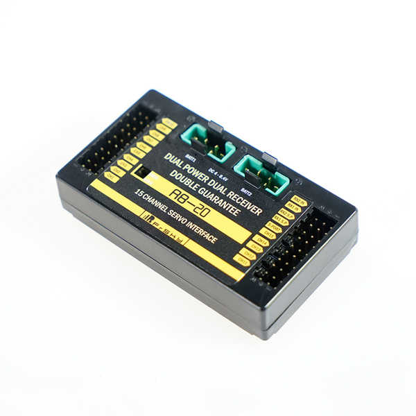 Frsky RB-20 doble potencia doble receptor telemetría interruptor automático y salida de corriente máxima de hasta 10 A para modelos RC las carreras de aviones no tripulados ACC