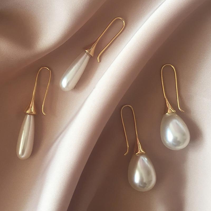 White Teardrop Simulation Pearl Earrings Dangle For Women