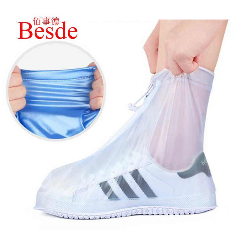 1 paire réutilisable antidérapant pluie couvre chaussures imperméable haut couverture chaussures Silicone chaussure couverture bottes d'extérieur couvre