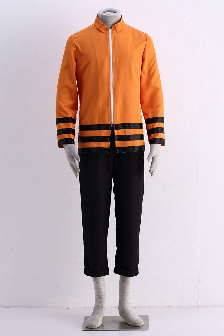 Anime Naruto The Last Shippuden Uzumaki Naruto Cosplay Costume Orange Coat Three-Quarter Pant Suits