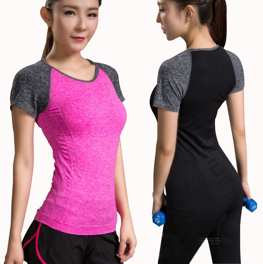 Quick Dry Stretch Patchwork Slim Fit Yoga Tops Women Sport T Shirt Gym Jerseys Fitness Shirt