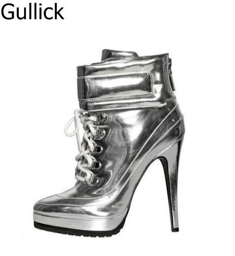 Newest Fashion Cheap Price Women Solid Silver Bling Color Lace Up Ankle Boots Pointed Toe Cross-tied High Heels Platform Shoes