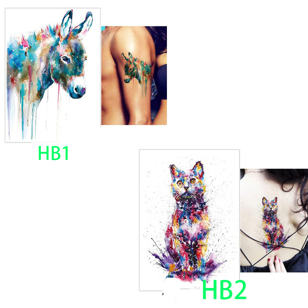 new arte2250 Yellow Fox and Feather Cool Beauty Tattoo Waterproof Hot Temporary Tattoo Stickers original 3d individuality design waterproof temporary tattoo stickers