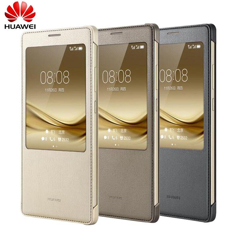 imágenes para 100% Oficial Original Mate 8 Window Vista Flip Cubierta de Cuero caso Para Huawei Ascend Mate 8 Mate8/Vienen Con caja