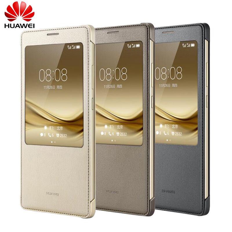100% Original Huawei Mate 8 Flip Case leather luxury case cover Mate 8 Protective Cover Smart Window View Auto wake up With Box