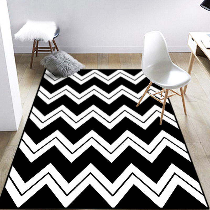 mode moderne geometrische schwarz wei zickzack chevron fu matte bad parlor wohnzimmer. Black Bedroom Furniture Sets. Home Design Ideas