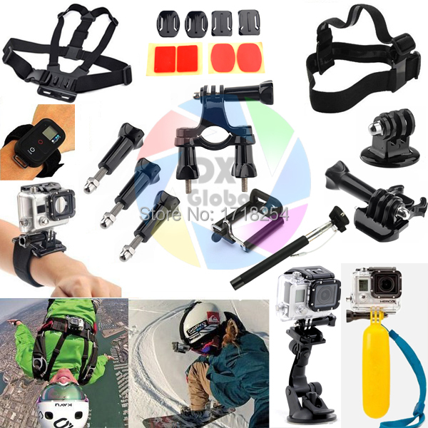 Gopro Hero 3 4 Kit Chest Head Hand Mount Strap Floating Bobber Car Suction Cup Bicycle Handlebar Sj4000 Accessories Set universal mini car mount holder w suction cup for gopro hero 4 1 2 3 3 black