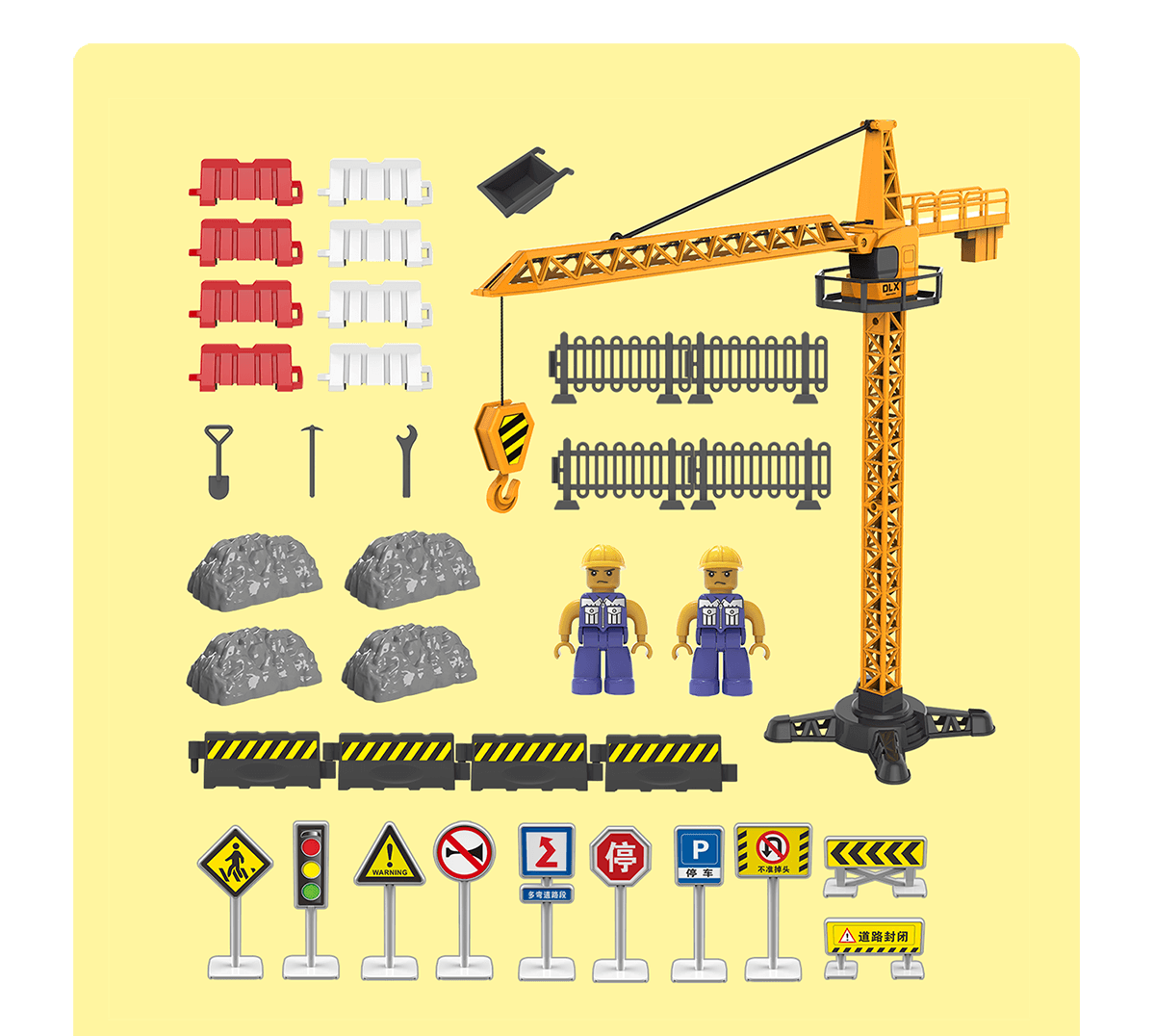 construction tower crane site road signs traffic light accessories diecast toy city building play set engineering toys for boys [ 1200 x 1076 Pixel ]