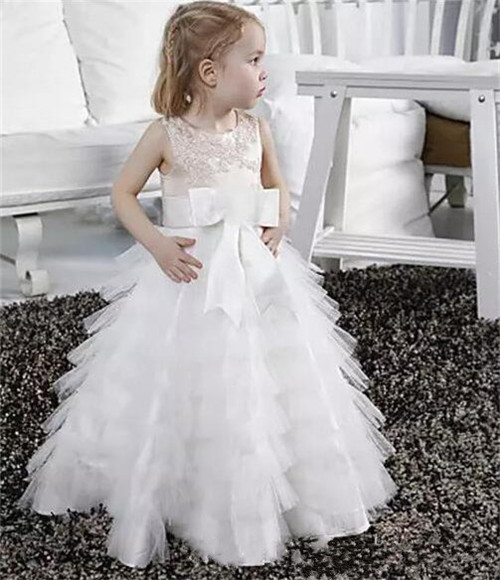 New High Quality White Girls Birthday Dress Crew Neck Tulle Sleeveless Flower Girl Dress Custom Made цена