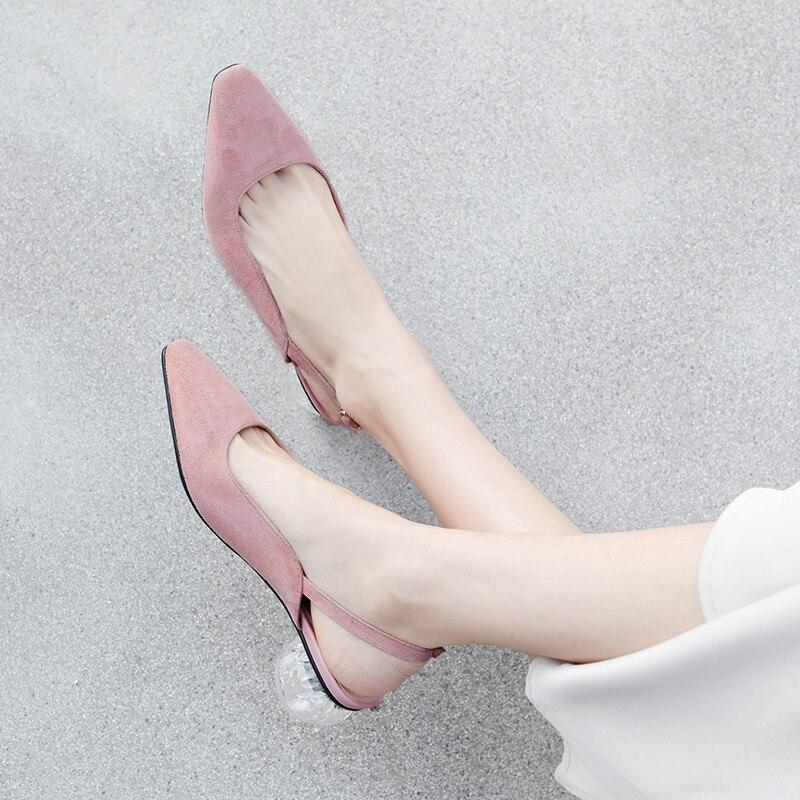 Dame Black Cristal Parti Slingback Printemps Pompes pink Daim 2019 Chaussures Femmes Sangle Boucle De Talons Moyen Été Pumps Rose Pumps Transparent Moutons YxvqP