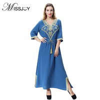 MISSJOY Dubai abaya Muslim Dubai glitter Dress vestido floral vadim women Half sleeve V Neck patchwork Indie Folk vintage elbise