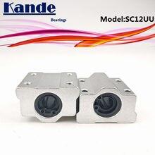 Rodamientos Kande 2 uds SC12UU SC12 UU Cojinete de bolas de movimiento lineal bloque deslizante casquillo para 12mm SC12 SC