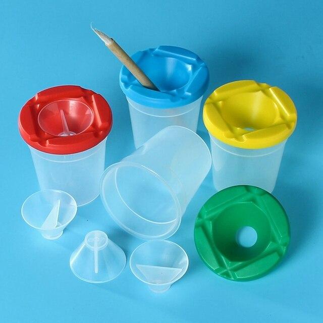 8Pcs/Set High Quality Childrens Paint Brush Cleaner Pot Set Paint ...