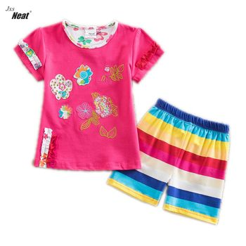 retail summer suit clothes t-shirt&pants kids clothes cotton short baby suit girls clothes children suit kids clothing TS220 conjuntos casuales para niñas