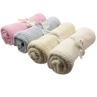 Newborn Baby Blankets Swaddling Infant Soft Cotton Crochet 100cmX75cm Candy Color Prop Crib Sleeping Bed Supplies