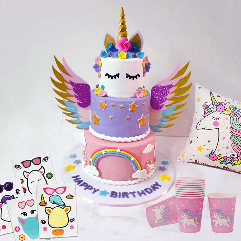 Cyuan Unicorn Birthday Cake Wings Decor Cartoon Toppers Party Decoration Kids Cupcake Wrappers
