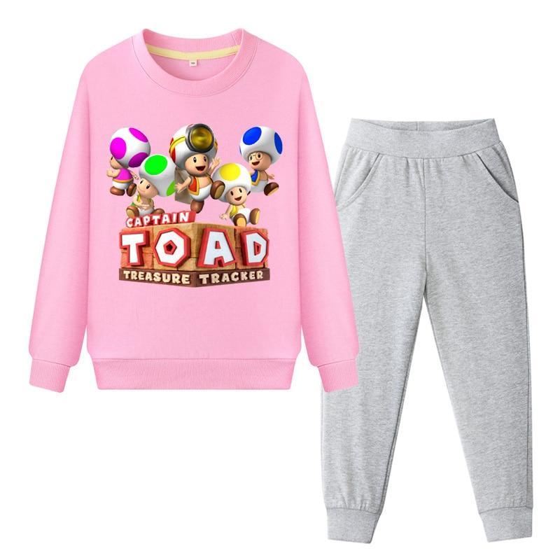 Children Captian Toad Clothes Set Boys Spring Autumn Sport Tracksuit Girls