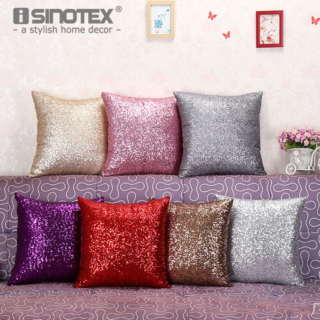 Pink Sofa Throw Red Arm Covers 40 40cm Colorful Mermaid Sequin Decorated Shining Cushion