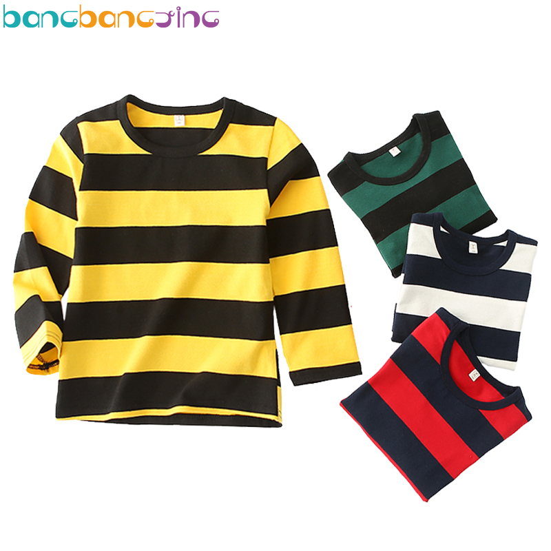 Long Sleeve Casual Stripe Boys T-shirts Cotton Elasticity T shirt for Girls Brand Long Sleeve Top for Boy Fashion Soft Shirt voile panel stripe long sleeve t shirt