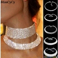 MissCyCy Women Crystal Diamante Rhinestone Necklace Silver Plating Wedding Bridal Party Collar Choker Necklace Jewelry Gifts