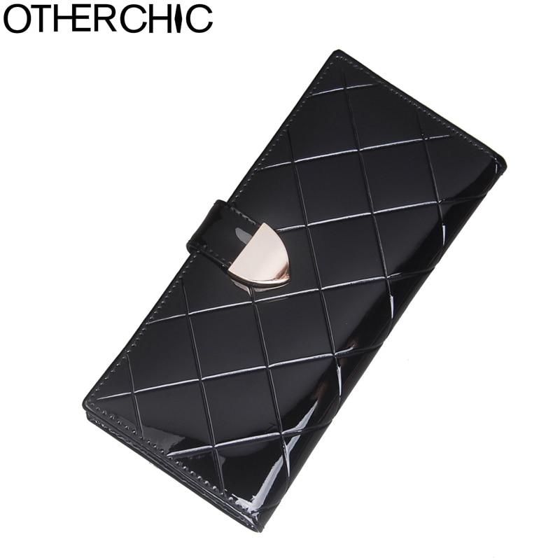 купить OTHERCHIC Women Elegant Genuine Cowhide Patent Leather Wallets Woman Lattice Pattern Wallet Black Female Purse Long Purses 1167 недорого