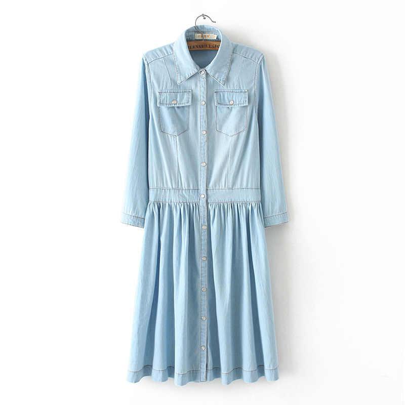 Высококачественное осеннее джинсовое платье, одежда больших размеров, женское джинсовое платье, элегантное весеннее тонкое Ковбойское Повседневное платье vestidos