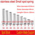 0.8mm Wire OD=8mm Length=10mm--65mm stainless steel Small spot spring micro spring compression spring pressure spring OD=8mm
