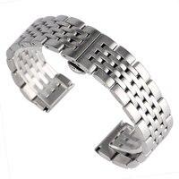 20 22 24mm Watchband Adjustable Solid Link 2 Spring Bars Watch Band Strap Men Women Bracelet
