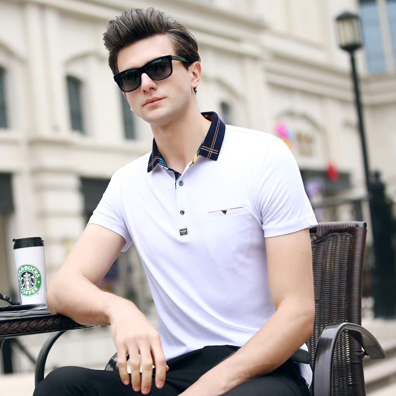 2019 New Men's   POLO   Shirt Fashion Hit Color Lattice Collar Casual Pure Color Paul Shirt Brand   Polo   Shirt Men's Clothing