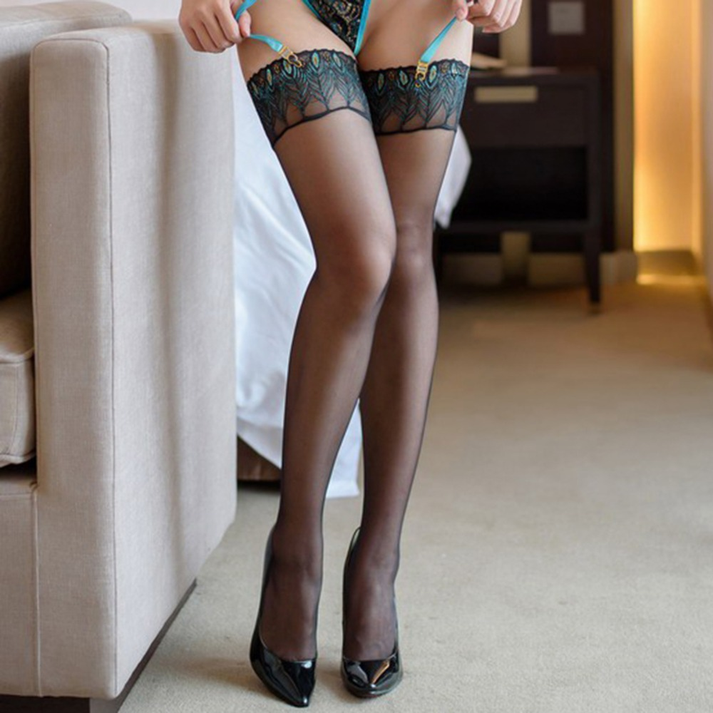 Silicone Sexy Stockings Embroidery Peacock Feathers Stocking Women Striped To Prevent Slipping Medias in Stockings from Underwear Sleepwears