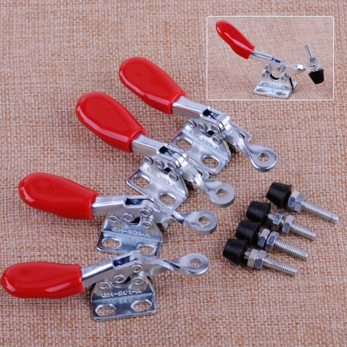 LETAOSK 4Pcs Red Handle Toggle Clamp GH-201A Horizontal Hold Quick-Release Hand Tool