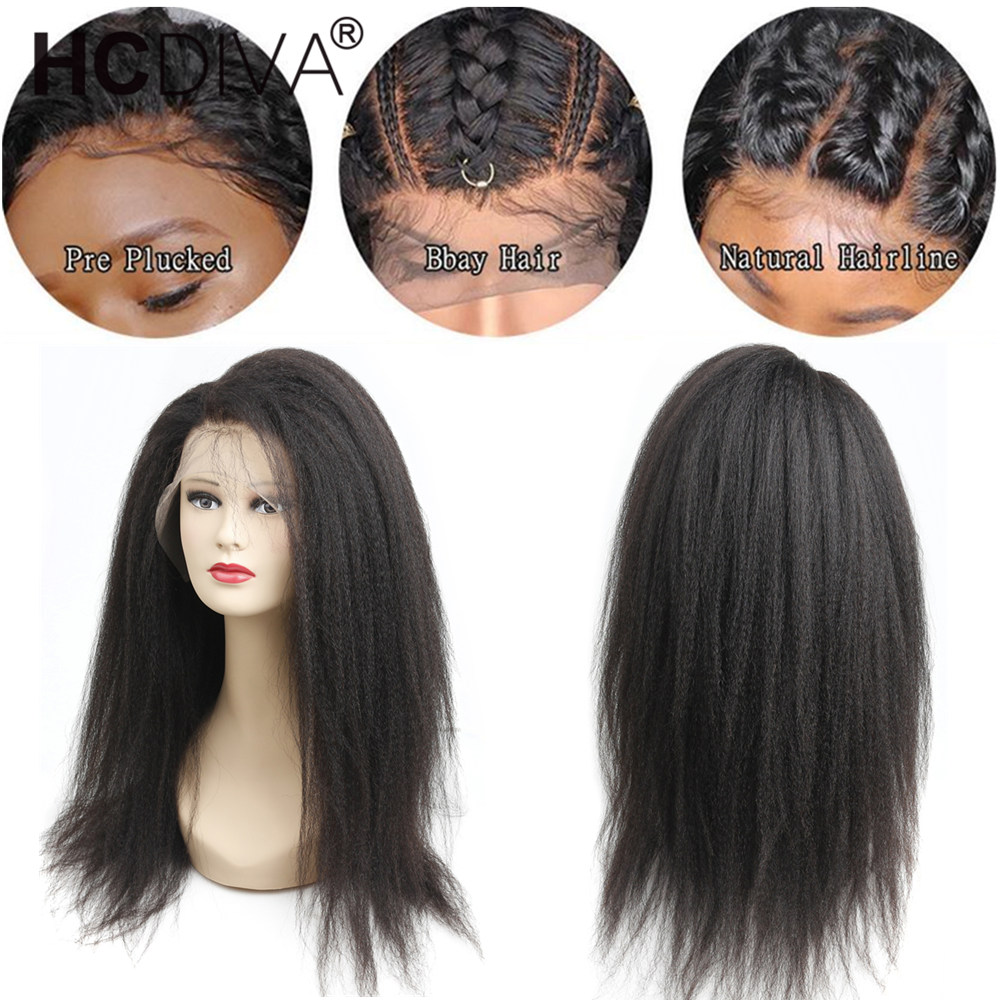 Image 3 - 360 Lace Frontal Human Hair Wig For Women Kinky Straight Lace Frontal Wigs 250% Brazilian Remy Hair Pre Plucked With Baby Hair-in Human Hair Lace Wigs from Hair Extensions & Wigs